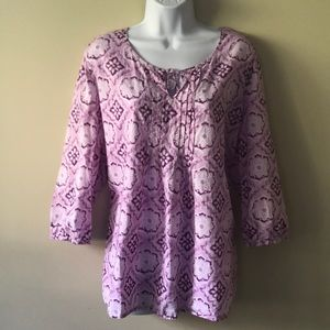 J Jill floral purple shirt blouse top
